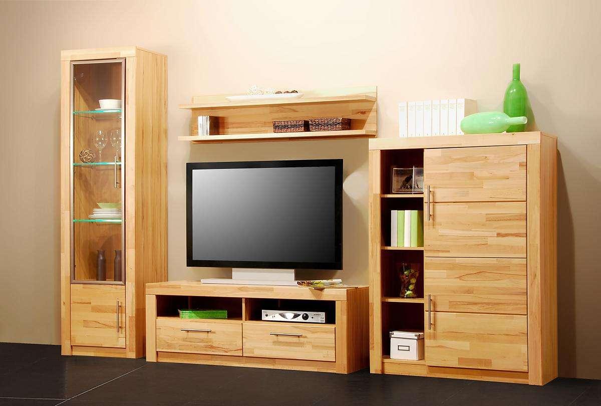 wohnwand kernbuche teil massiv ge lt anbauwand schrankwand wonhzimmer schrank ebay. Black Bedroom Furniture Sets. Home Design Ideas