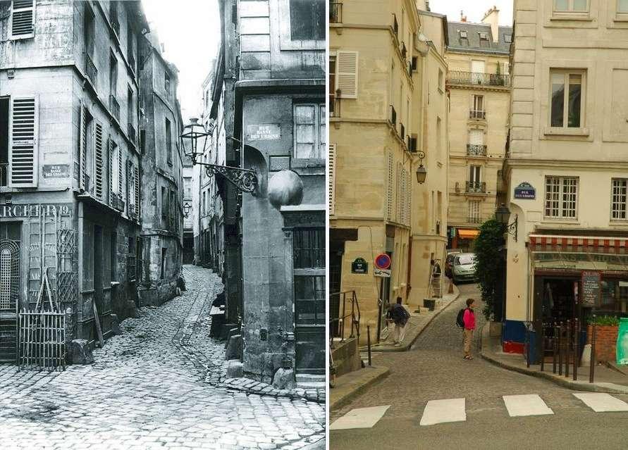 Île de la Cité before and after - Rue de la Colombe, now called Rue des Ursins